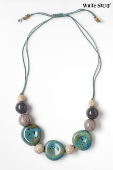 White Stuff Teal Speckled Ceramic Bead Necklace