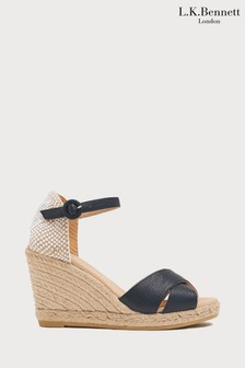L.K.Bennett Blue Angele Leather Espadrille Sandal
