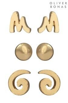 Oliver Bonas Gold Tone Waverly Multi Shapes Stud Earrings