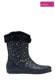 Joules Blue Chilton Short Padded Wellies With Faux Fur Collar
