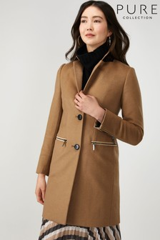 Pure Collection Camel Single Breasted Zip Detail Coat