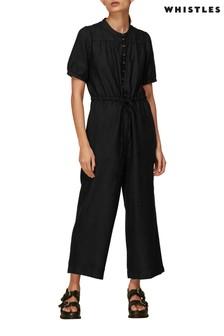 Whistles Black Linen Frill Sleeve Jumpsuit