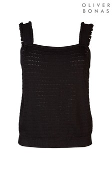 Oliver Bonas Black Frill Strap Knitted Top
