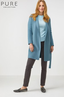 Pure Collection Blue Double Faced Wrap Coat