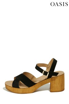 Oasis Black Leather Block Heel Sandals