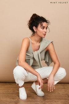 Mint Velvet Sage Green V-Neck Knitted Vest