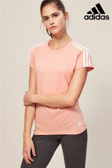adidas Pink Essentials 3 Stripe Slim Tee