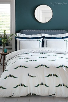Sophie Allport Peacocks Cotton Duvet Cover and Pillowcase Set