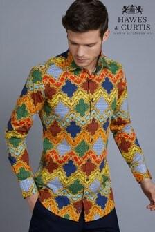 Hawes & Curtis Blue  Novelty Print Slim Fit Stretch Shirt
