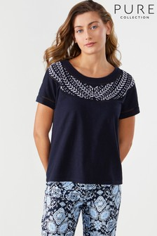 Pure Collection Blue Embroidered Cotton T-Shirt