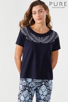 Pure Collection T-Shirt aus Baumwolle mit Stickerei, Blau