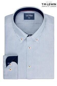 T.M. Lewin Slim Fit Oxford Navy Bengal Stripe Cuff Shirt