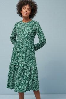 Каскадное платье миди