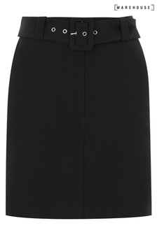 Warehouse Black Belted Pelmet Mini Skirt