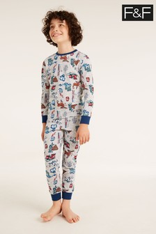 F&F Grey Marl Christmas All Over Print Pyjamas