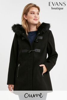 Evans Curve Black Faux Fur Hood Coat