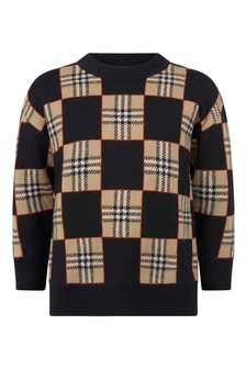 Boys Black/Beige Check Wool Jumper