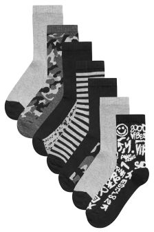Camouflage Slogan Socks Seven Pack (Older)