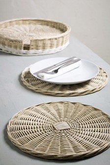 Set of 4 Hand Woven Willow Placemats And Holder