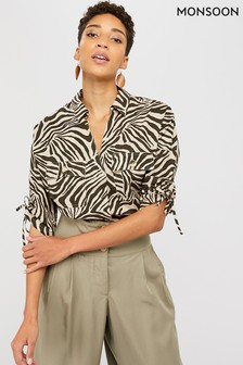 Monsoon Brown Zadie Zebra Print Organic Cotton Shirt