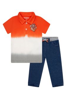 Guess Baby Boys Orange Cotton Set