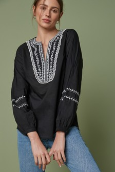 Long Sleeve Embroidery Top