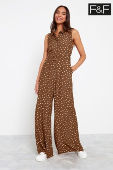 F&F Chocolate Spot Wide Leg Jumpsuit