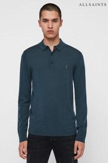 AllSaints Blue Mode Merino Long Sleeve Polo