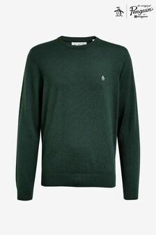 Original Penguin® Green 12GG Solid Merino Crew Sweater