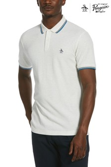 Original Penguin® Grey Tipped Collar Logo Poloshirt