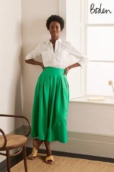 Boden Green Lydia Linen Pleated Skirt