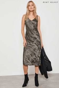 Mint Velvet Pewter Shimmer Slip Midi Dress