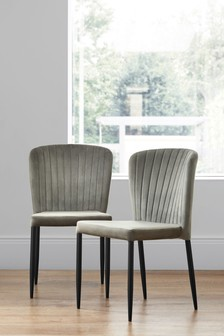 Set Of 2 Blake Dining Chairs With Black Legs
