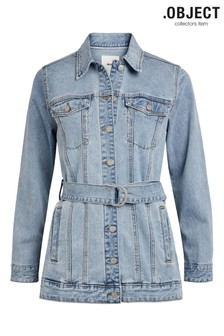 OBJECT Blue Noelle Belted Denim Jacket