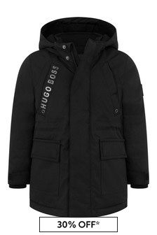 Boys Black Hooded Parka Coat