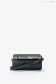 French Connection Black Rolo Croc Barrel Bag