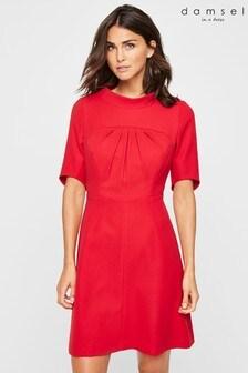Damsel In A Dress Red Lynix Tuck Front Dress
