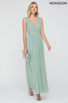 Monsoon Green Elyse Embellished Waist Maxi Dress