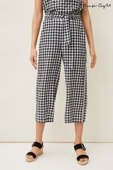 Phase Eight Blue Clea Gingham Culottes