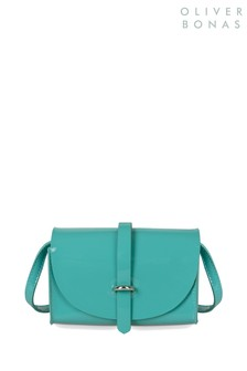 Oliver Bonas Green Cora Patent Tri Cross Body Bag