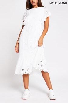 River Island White Broderie Midi Dress
