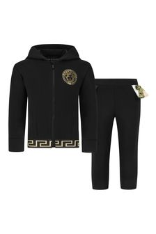 Baby Girls Black Cotton Tracksuit