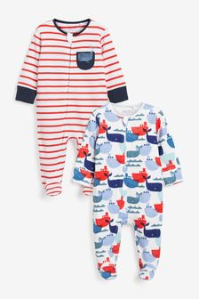 2 Pack Zip Sleepsuits (0mths-3yrs)