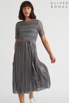 Oliver Bonas Metallic Rainbow Stripe Pleated Midi Dress