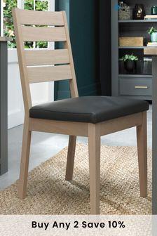 Oakham Scandi Oak Chair Dark Grey Faux Leather Pair by Bentley Designs