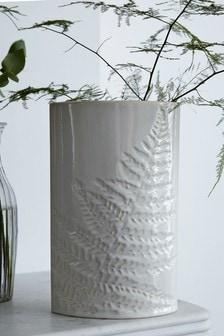 Ceramiczny wazon z motywem paproci