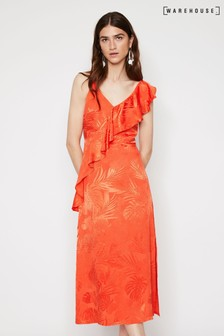 Warehouse Orange Palm Jacquard Midi Cami Dress