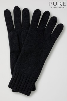 Pure Collection Black Cashmere Gloves