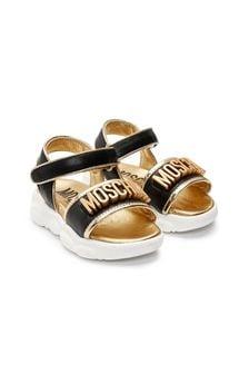 Moschino Kids Girls White Leather Sandals
