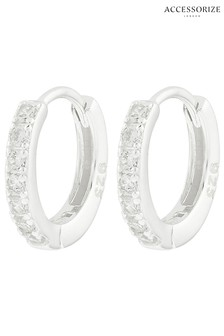 Accessorize Sterling Silver Plain Mini Huggie Hoops